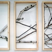 Birch Branch Wall Hanging Triptych by MadeAtTheLake on Etsy