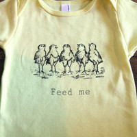$15.00 Onesuit Feed Me Chickens Cute Screen Print Baby by TheCoinLaundry