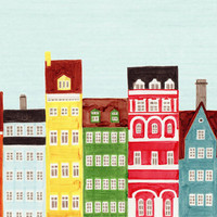 Copenhagen Buildings Scandinavian Design Colorful by annasee