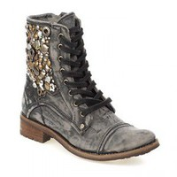 Feud Britannia Collage Lace Up Military Boots - FREE Next Day Delivery  | Kindred Sole