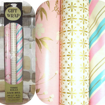 Vintage 50s NOS 3 Rolls ATOMIC Wrapping Paper Gift Wrap  60s Pink Gold Blue Wedding Baby Christmas Birthday