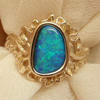 Boulder Opal Ring Green Blue 14k Yellow Gold Freeform Sunburst