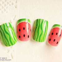 "Ready to Ship Fake Nail Set - "" Watermelon """