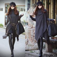 Elegant Cross Design Irregularity Hem Dark Grey Long Sleeves Coat For Women China Wholesale - Everbuying.com