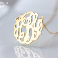 Monogram necklace  - 1 inch Personalized Monogram - Sterling silver 18k gold plated - expedited shipping