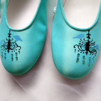 Wedding Shoes tiffany blue flats chandeliers and by norakaren