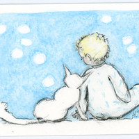 Original ACEO Boy and Cat by zirkulas on Etsy
