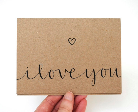Modern romantic greeting card with from sparrownestscript
