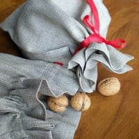 2x Gift Bags  Shiny Sliver And Natural Linen For by LinenLifeIdeas
