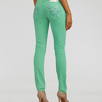 Miss Me Jeans Floral-Embroidered Colored Skinny Jeans | Dillard's Mobile