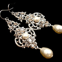 Bridal earrings, vintage style earrings, wedding jewelry, pearl earrings, antique silver with Swarovski crystals and Swarovski pearls