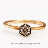 catbird::shop by category::Jewelry::Wedding &amp; Engagement Rings::Hexagon Ring with Champagne Diamond