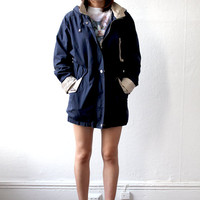 90s NAVY BLUE Cargo Drawstring Slouchy Windbreaker Jacket Coat xs s m