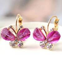 $3.49  Purple Rhinestone Butterfly Leverback Earrings Gofavor