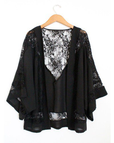 Black Lace Kimono