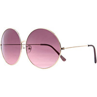 Gold tone oversized round tinted sunglasses