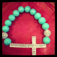 Teal and Rhinestone Pave Bead Cross Bracelet