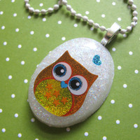 Orange Owl Resin Necklace