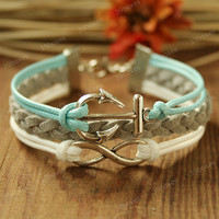 Anchor Bracelet - infinity bracelet  with anchor charm, Fabulous Christmas gift, mint anchor bracelet for girlfriend and BFF