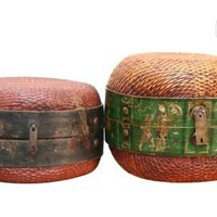 One Kings Lane - Tenango - Willow Hat Box, Brown