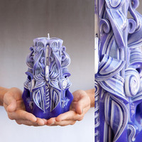 Purple candle  Carved candles by primacandle on Etsy