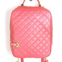 61077 Salmon Quilted iPad Backpack and shop Handbags at MakeMeChic.com