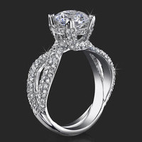 Engagement Rings -  .98 ctw. 14K Gold Diamond Engagement Ring