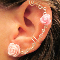 Non Pierced Ear Cuff  &quot;Roses are Romantic&quot; Cartilage Conch Cuff Silver tone