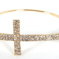 Amazon.com: Gold with Clear Iced Out Cross Metal Bangle Bracelet: Jewelry