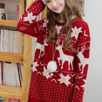 Christmas Red Deer Round Neck Sweater  S008826