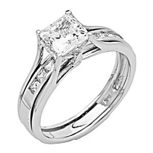 14K White Gold High Poliosh Finish Princess-cut 2.00 CTW Equivalent Top Quality Shines CZ Cubic Zirconia Ladies Solitaire Engagement Ring and Wedding Band 2 Two Piece Set (Size 4 to 11): Jewelry: Amazon.com