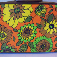 Vintage Psychadelic SuitcaseFunky Floral in by TheTravelingOwlShop