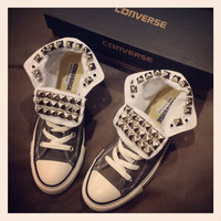 Custom studded grey Converse size 8 women by KillerCreationz