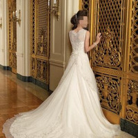 Straps Embellished Floral Wedding Dress White - picture
