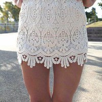 Vintage Inspired Cream Lace Mini Skirt with Elastic Waist