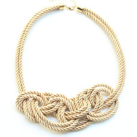Statement Necklace bib - beige silk knot necklace
