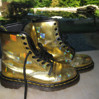 Rare Gold Hologram Doc Martens by VintageByThePound on Etsy