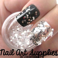nailartsupplies | Silver Shimmer - Silver White Raw Nail Glitter Mix 3.5 Grams  | Online Store Powered by Storenvy