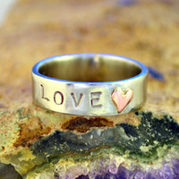 Love & Heart Ring in Stainless Steel by MapleBearJewelry on Etsy