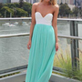 Mint Strapless Pleat Maxi Dress with Lace Bodice