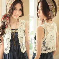 Vintage BOHO Lace Hollow-carved Crochet Knit Blouse Tops Vest Beige Vgh