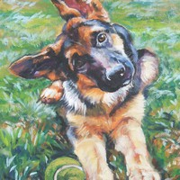German Shepherd art print CANVAS print of LA Shepard painting 12x16 giclee print dog art