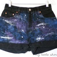 Black High Waisted Galaxy Print Levi&#x27;s Shorts by MyLittleShortShop