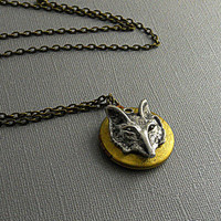 Vintage Brass Locket, Wolf Fox Locket, Steampunk Antique Silver Locket, Fantasy Harry Potter Locket- SINNA
