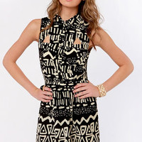 No Batik-ular Place to Go Black Print Dress