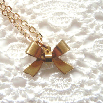 Bow Charm Necklace, Delicate Gold Charm Necklace, Bridesmaids Gift Set of SIX (6), Flower Girl Necklace , Bridal Jewlry
