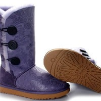 UGG Bailey Button Triplet 1873 Boots Phoenix Purple Outlet UK
