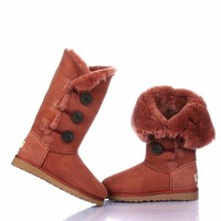 UGG 1873 Bailey Button Triplet Spree Brick Red Outlet UK