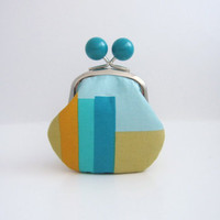 Blue Bead Coin Purse - bars on light blue