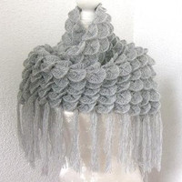 Triangle Mohair  Shawl Neckwarmer in Gray Grey by Iovelycrochet